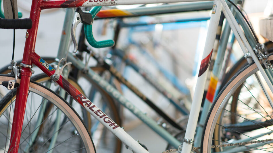 Photo of colourful vintage bike frames