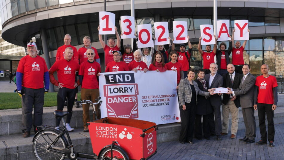 End Lorry Danger petition handover