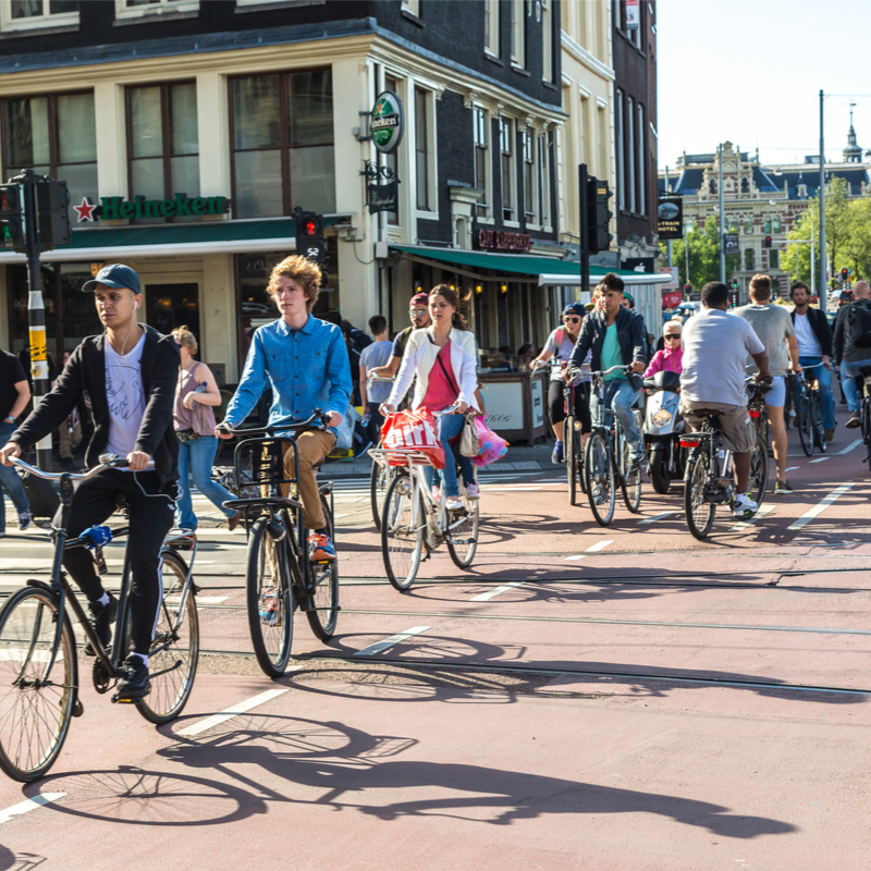 A busy cycle lane in Amsterdam.