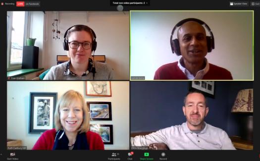 A screenshot of a Zoom call featuring LCC CEO Ashok Sinha, LCC's Fran Graham, cyclist Chris Boardman, and Ruth Cadbury MP